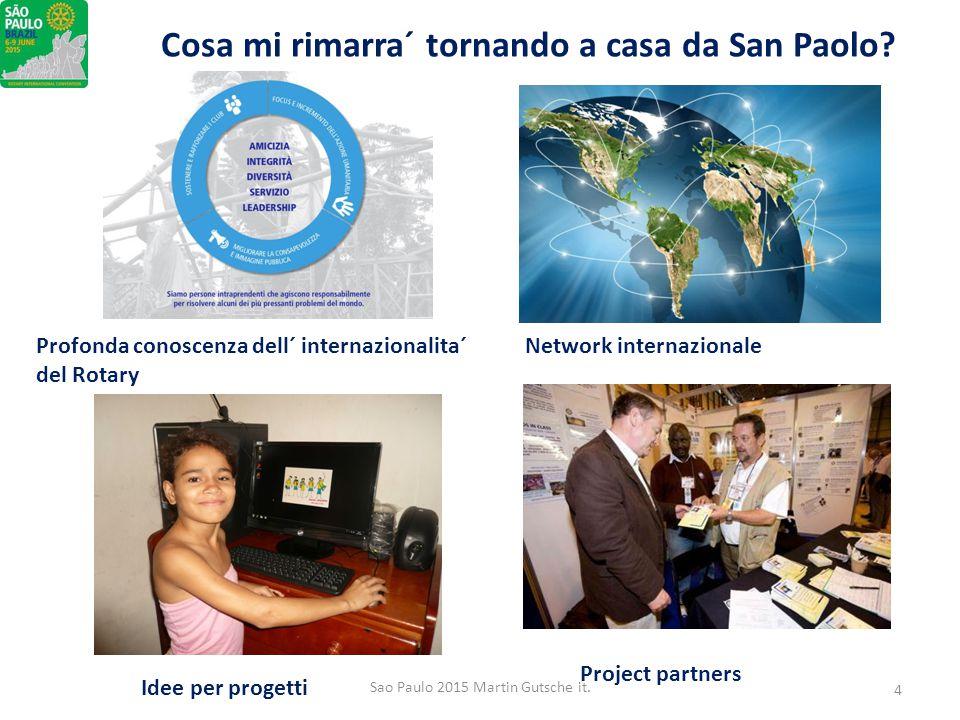 Cosa mi rimarra´ tornando a casa da San Paolo? Profonda conoscenza dell´ internazionalita´ del Rotary Network internazionale Idee per progetti Project