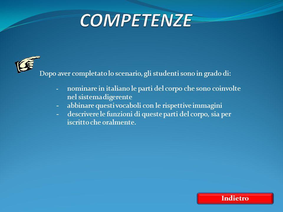 Indietro Dopo aver completato lo scenario, gli studenti sono in grado di: - nominare in italiano le parti del corpo che sono coinvolte nel sistema dig