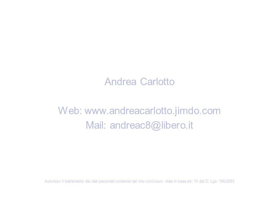 Andrea Carlotto Web: www.andreacarlotto.jimdo.com Mail: andreac8@libero.it Autorizzo il trattamento dei dati personali contenuti nel mio curriculum vi