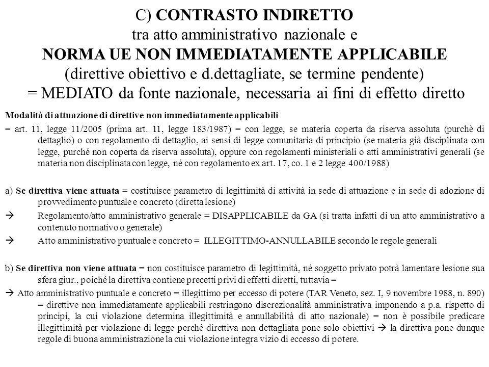 C) CONTRASTO INDIRETTO tra atto amministrativo nazionale e NORMA UE NON IMMEDIATAMENTE APPLICABILE (direttive obiettivo e d.dettagliate, se termine pe