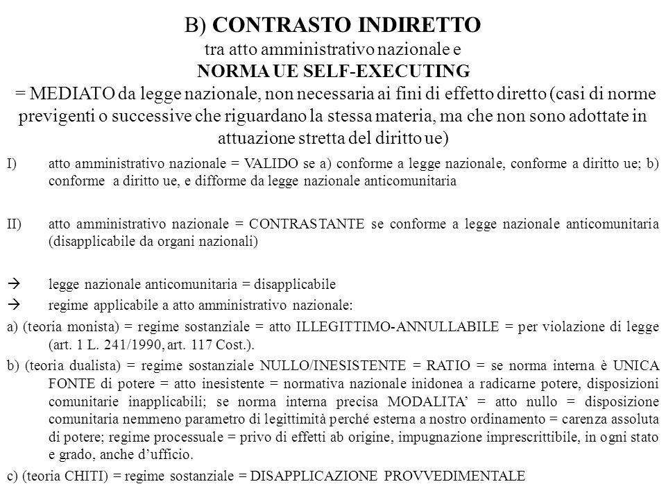 I)atto amministrativo nazionale = VALIDO se a) conforme a legge nazionale, conforme a diritto ue; b) conforme a diritto ue, e difforme da legge nazion