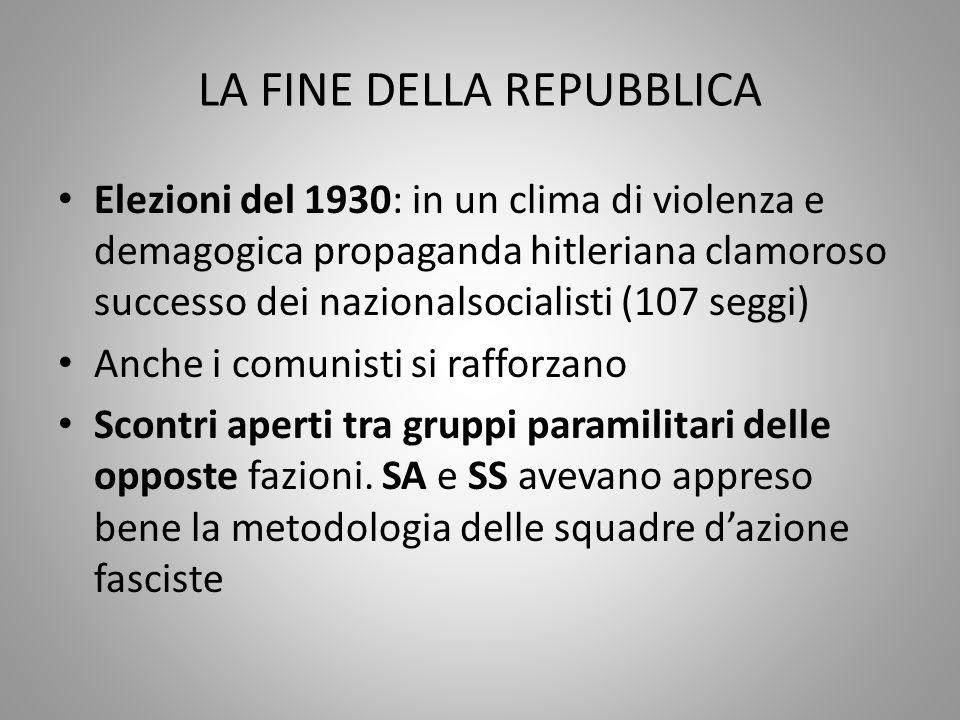 LA FINE DELLA REPUBBLICA Elezioni del 1930: in un clima di violenza e demagogica propaganda hitleriana clamoroso successo dei nazionalsocialisti (107
