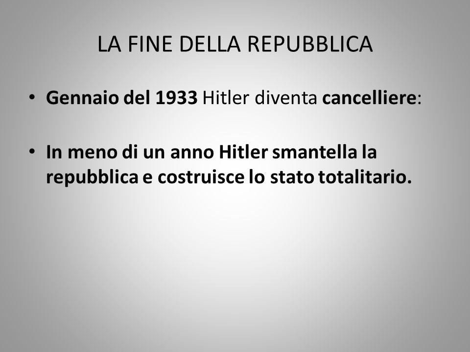 LA FINE DELLA REPUBBLICA Gennaio del 1933 Hitler diventa cancelliere: In meno di un anno Hitler smantella la repubblica e costruisce lo stato totalita