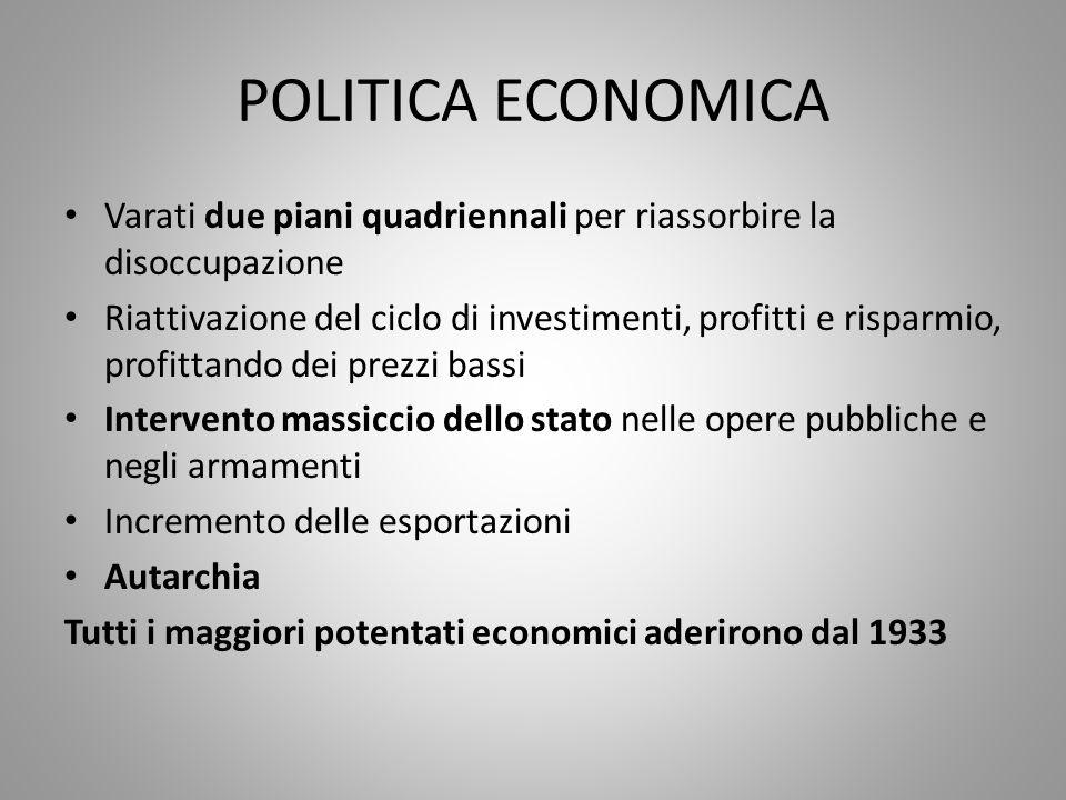 POLITICA ECONOMICA Varati due piani quadriennali per riassorbire la disoccupazione Riattivazione del ciclo di investimenti, profitti e risparmio, prof