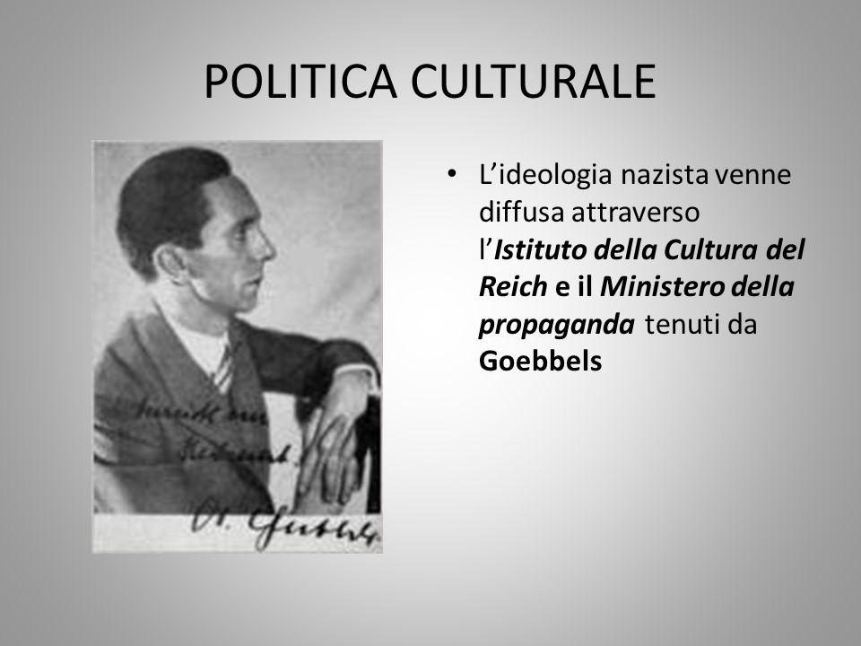 POLITICA CULTURALE L'ideologia nazista venne diffusa attraverso l'Istituto della Cultura del Reich e il Ministero della propaganda tenuti da Goebbels
