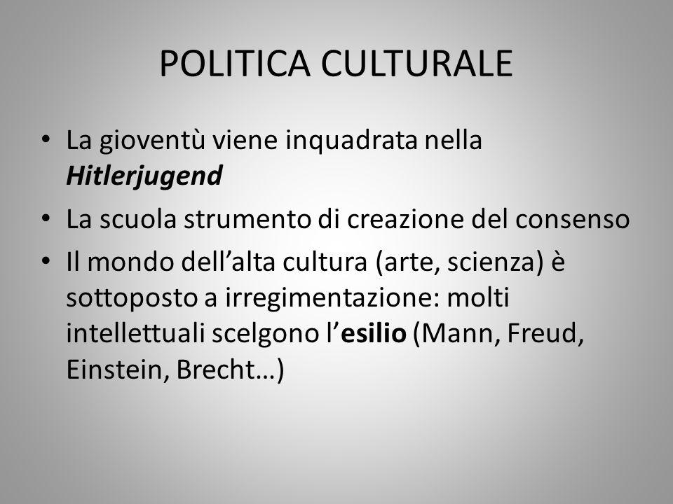 POLITICA CULTURALE La gioventù viene inquadrata nella Hitlerjugend La scuola strumento di creazione del consenso Il mondo dell'alta cultura (arte, sci