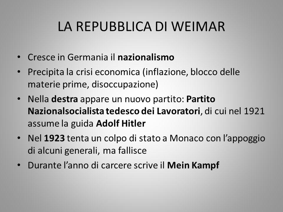 LA REPUBBLICA DI WEIMAR Cresce in Germania il nazionalismo Precipita la crisi economica (inflazione, blocco delle materie prime, disoccupazione) Nella