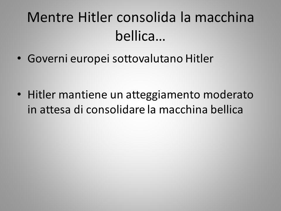 Mentre Hitler consolida la macchina bellica… Governi europei sottovalutano Hitler Hitler mantiene un atteggiamento moderato in attesa di consolidare l
