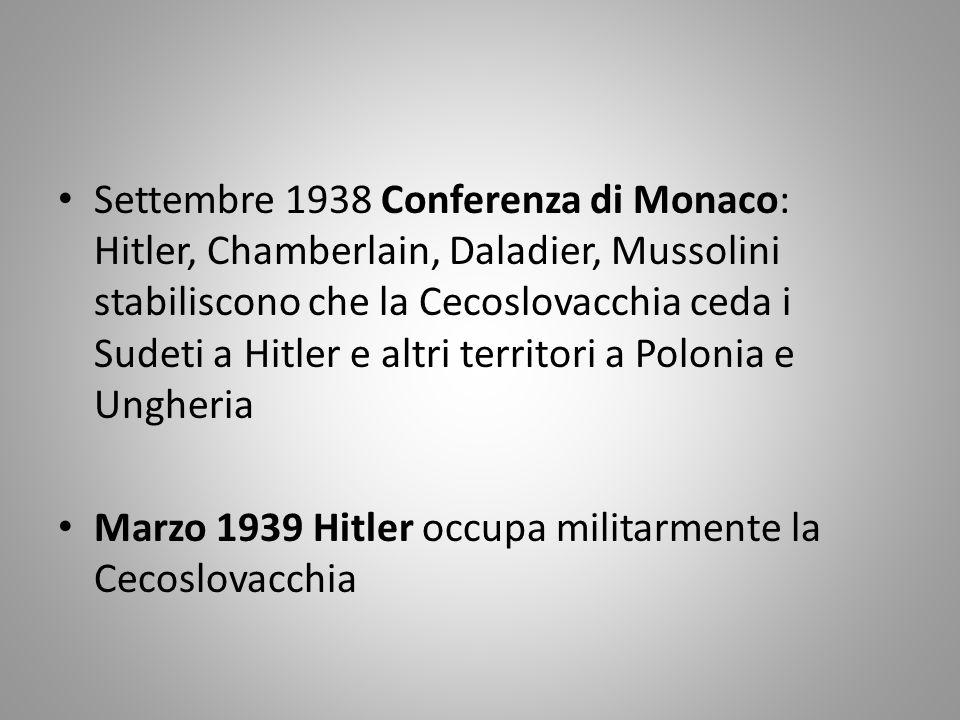 Settembre 1938 Conferenza di Monaco: Hitler, Chamberlain, Daladier, Mussolini stabiliscono che la Cecoslovacchia ceda i Sudeti a Hitler e altri territ
