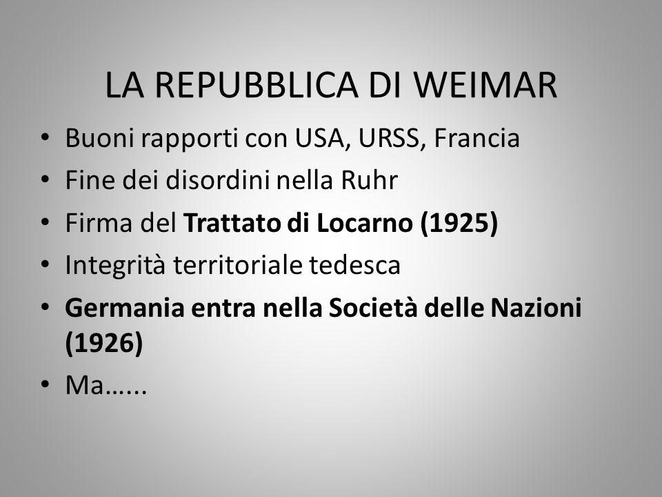 LA REPUBBLICA DI WEIMAR Buoni rapporti con USA, URSS, Francia Fine dei disordini nella Ruhr Firma del Trattato di Locarno (1925) Integrità territorial