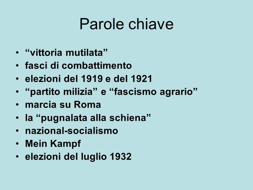 """Parole chiave """"vittoria mutilata"""" fasci di combattimento elezioni del 1919 e del 1921 """"partito milizia"""" e """"fascismo agrario"""" marcia su Roma la """"pugnal"""