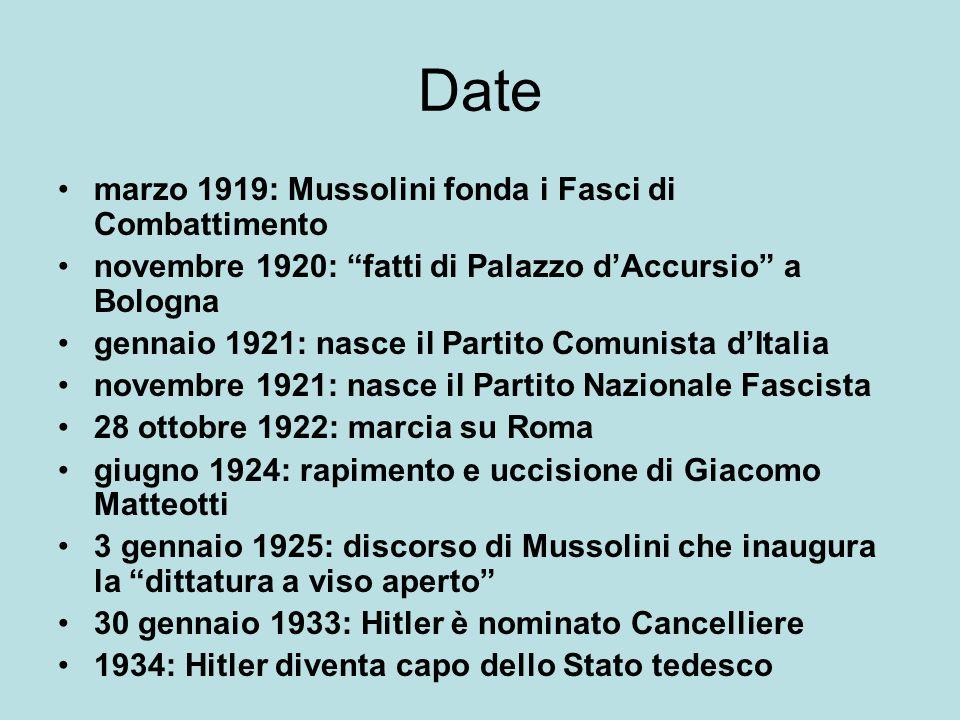 """Date marzo 1919: Mussolini fonda i Fasci di Combattimento novembre 1920: """"fatti di Palazzo d'Accursio"""" a Bologna gennaio 1921: nasce il Partito Comuni"""