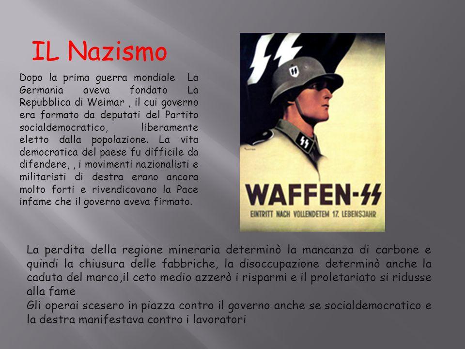 IL Nazismo Dopo la prima guerra mondiale La Germania aveva fondato La Repubblica di Weimar, il cui governo era formato da deputati del Partito sociald