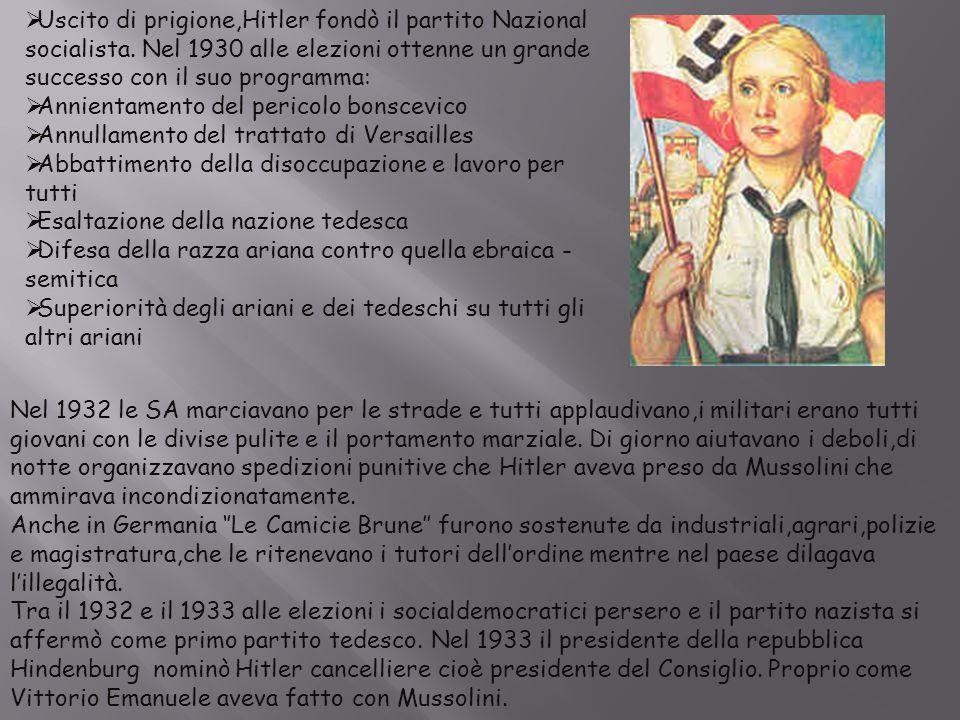  Uscito di prigione,Hitler fondò il partito Nazional socialista. Nel 1930 alle elezioni ottenne un grande successo con il suo programma:  Annientame