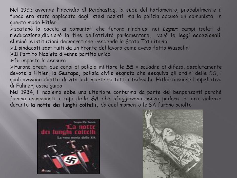 Nel 1933 avvenne l'incendio dl Reichastag, la sede del Parlamento, probabilmente il fuoco era stato appiccato dagli stesi nazisti, ma la polizia accus
