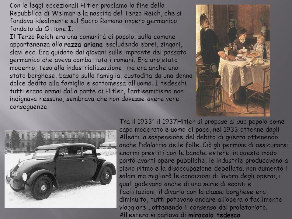 Nel 1935 vara le leggi razziali, portando avanti una parte fondamentale del suo programma la purezza della razza , la prima prevedeva un trattamento sui malati che impediva loro di aver figli, le altre, note con le Leggi di Norimberga vietavano agli ebrei di sposarsi con ariani e di avere servitori ariani.