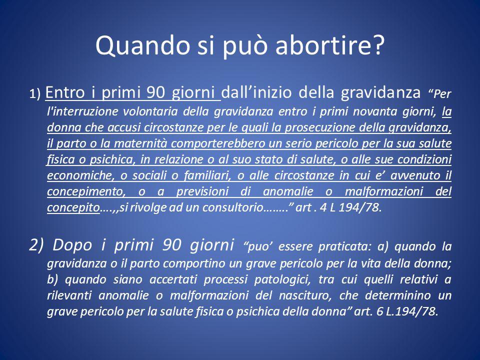 """1) Entro i primi 90 giorni dall'inizio della gravidanza """"Per l'interruzione volontaria della gravidanza entro i primi novanta giorni, la donna che acc"""
