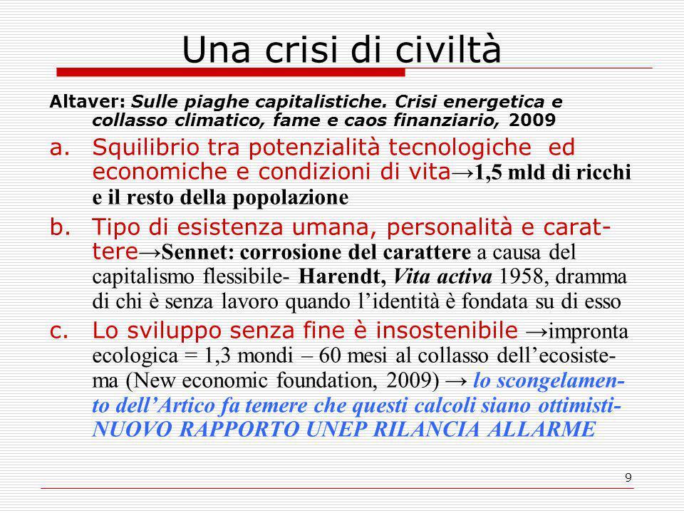 9 Una crisi di civiltà Altaver: Sulle piaghe capitalistiche.