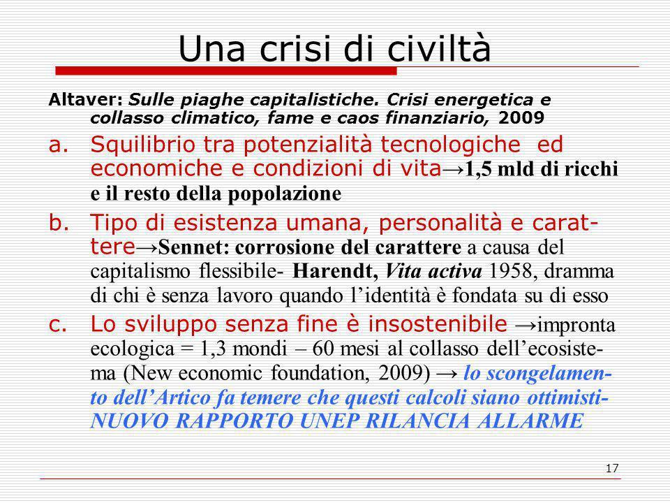 17 Una crisi di civiltà Altaver: Sulle piaghe capitalistiche.