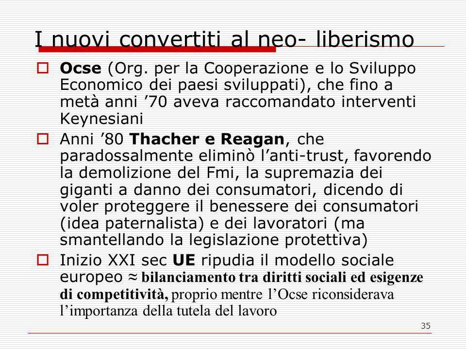 35 I nuovi convertiti al neo- liberismo  Ocse (Org.