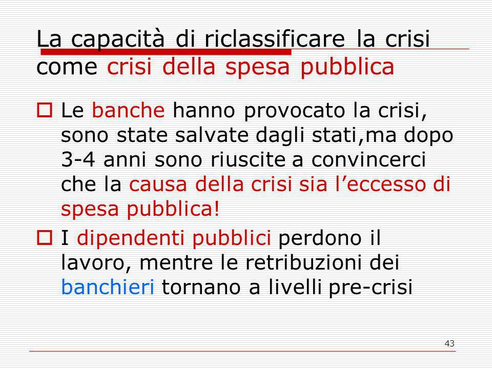 43 La capacità di riclassificare la crisi come crisi della spesa pubblica  Le banche hanno provocato la crisi, sono state salvate dagli stati,ma dopo 3-4 anni sono riuscite a convincerci che la causa della crisi sia l'eccesso di spesa pubblica.