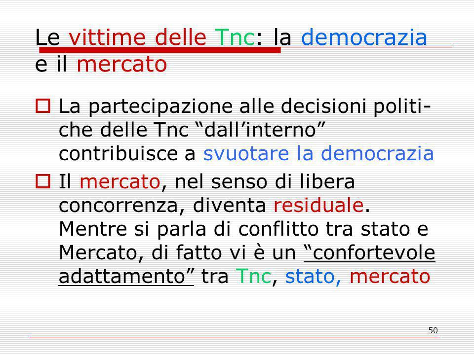 50 Le vittime delle Tnc: la democrazia e il mercato  La partecipazione alle decisioni politi- che delle Tnc dall'interno contribuisce a svuotare la democrazia  Il mercato, nel senso di libera concorrenza, diventa residuale.