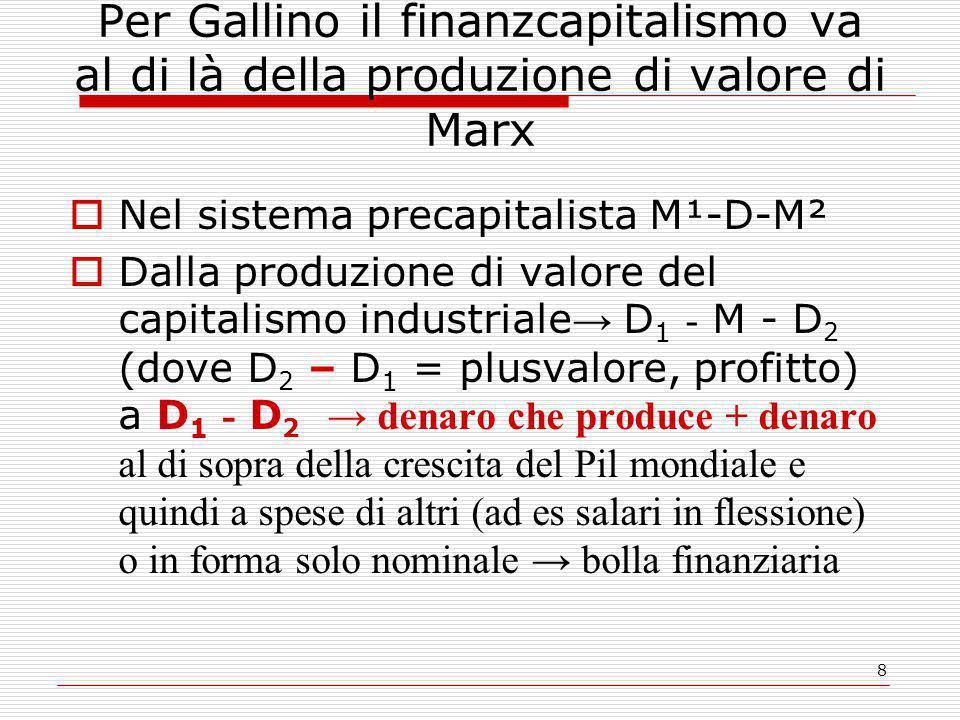 8 Per Gallino il finanzcapitalismo va al di là della produzione di valore di Marx  Nel sistema precapitalista M¹-D-M²  Dalla produzione di valore del capitalismo industriale → D 1 - M - D 2 (dove D 2 – D 1 = plusvalore, profitto) a D 1 - D 2 → denaro che produce + denaro al di sopra della crescita del Pil mondiale e quindi a spese di altri (ad es salari in flessione) o in forma solo nominale → bolla finanziaria
