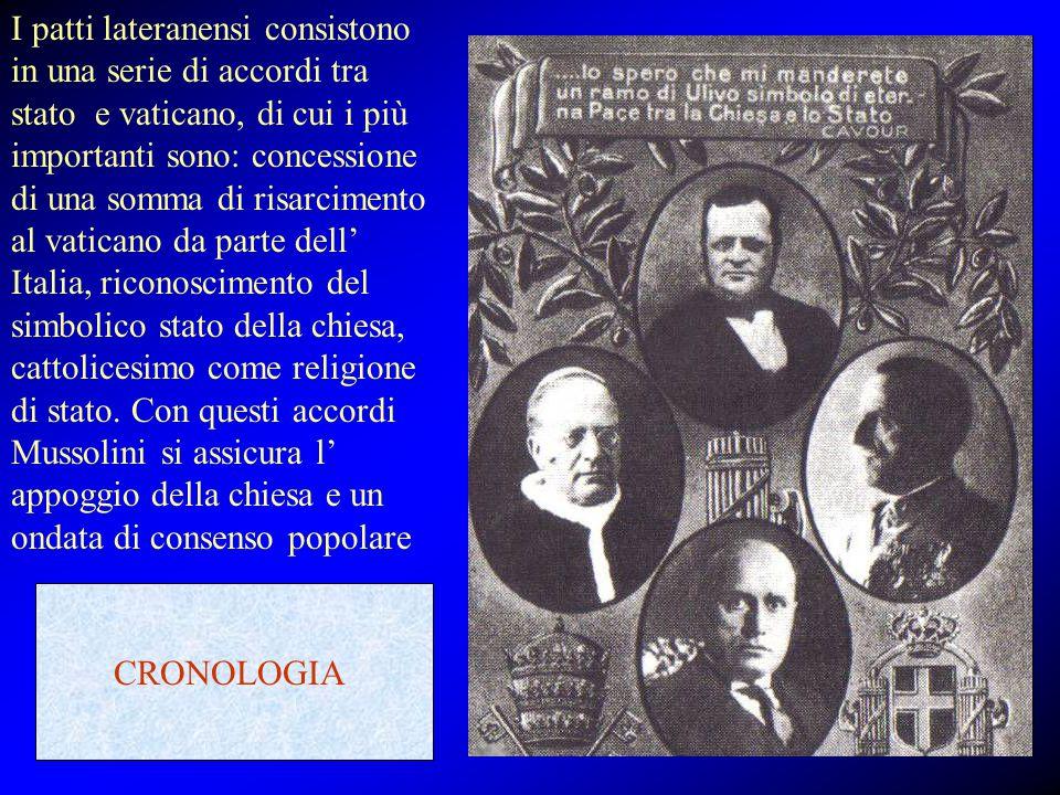 I patti lateranensi consistono in una serie di accordi tra stato e vaticano, di cui i più importanti sono: concessione di una somma di risarcimento al