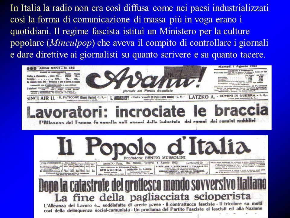 In Italia la radio non era così diffusa come nei paesi industrializzati così la forma di comunicazione di massa più in voga erano i quotidiani. Il reg