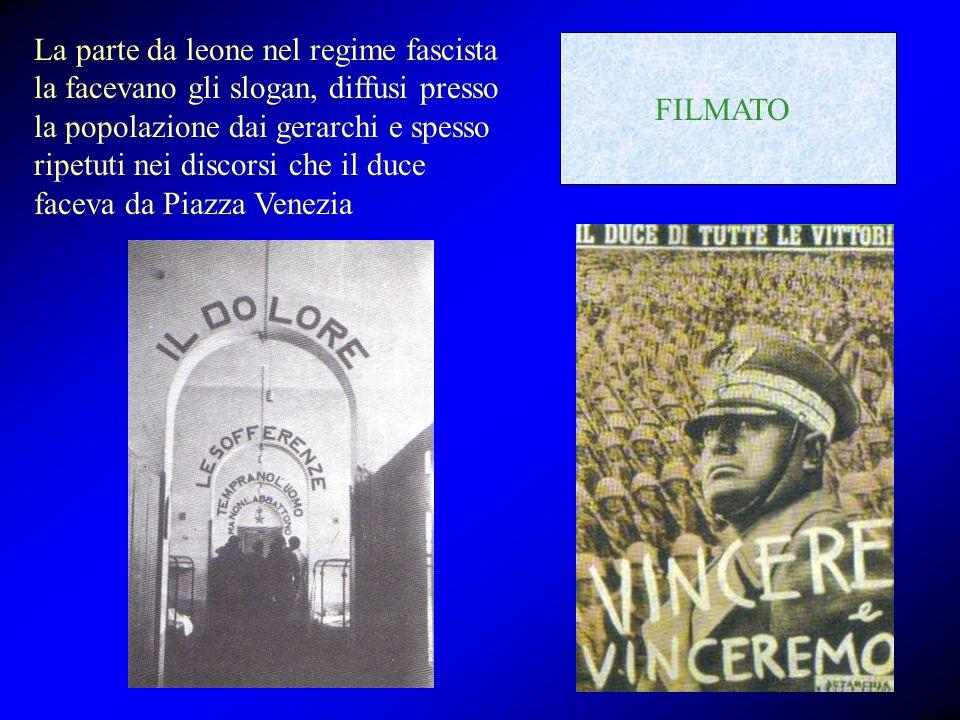 La parte da leone nel regime fascista la facevano gli slogan, diffusi presso la popolazione dai gerarchi e spesso ripetuti nei discorsi che il duce fa