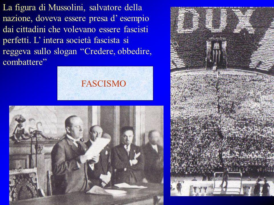 La figura di Mussolini, salvatore della nazione, doveva essere presa d' esempio dai cittadini che volevano essere fascisti perfetti. L' intera società