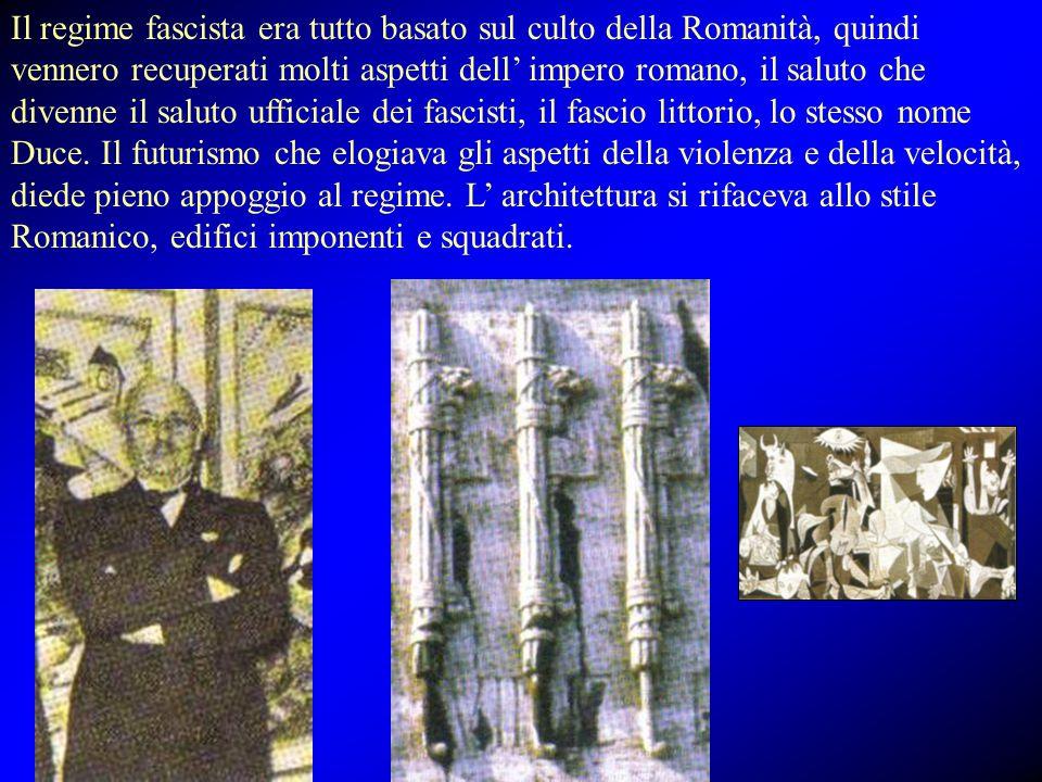 Il regime fascista era tutto basato sul culto della Romanità, quindi vennero recuperati molti aspetti dell' impero romano, il saluto che divenne il sa