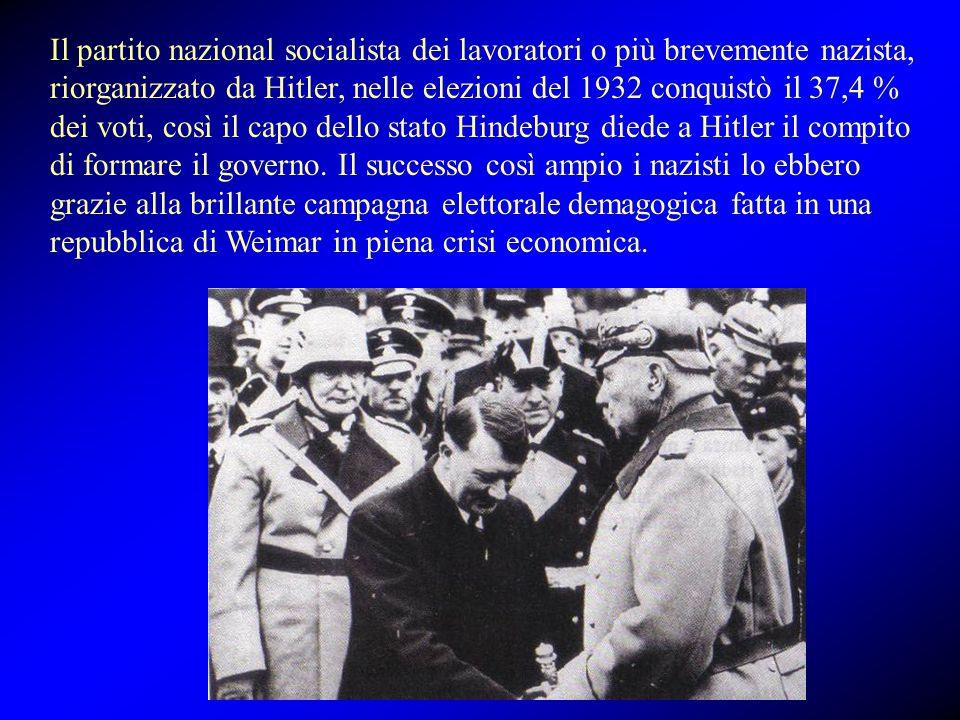 Il partito nazional socialista dei lavoratori o più brevemente nazista, riorganizzato da Hitler, nelle elezioni del 1932 conquistò il 37,4 % dei voti,