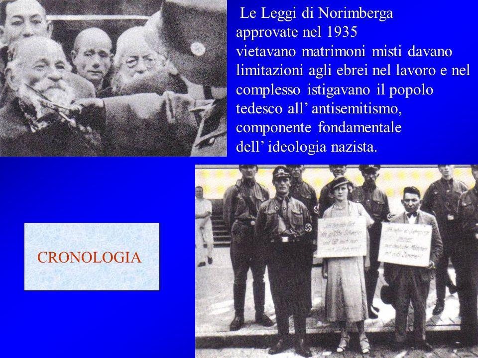 Le Leggi di Norimberga approvate nel 1935 vietavano matrimoni misti davano limitazioni agli ebrei nel lavoro e nel complesso istigavano il popolo tede
