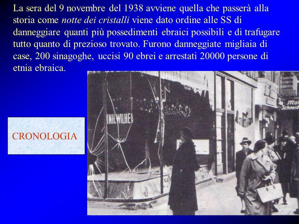 La sera del 9 novembre del 1938 avviene quella che passerà alla storia come notte dei cristalli viene dato ordine alle SS di danneggiare quanti più po