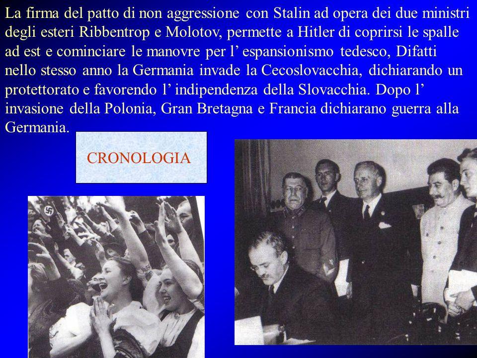 La firma del patto di non aggressione con Stalin ad opera dei due ministri degli esteri Ribbentrop e Molotov, permette a Hitler di coprirsi le spalle