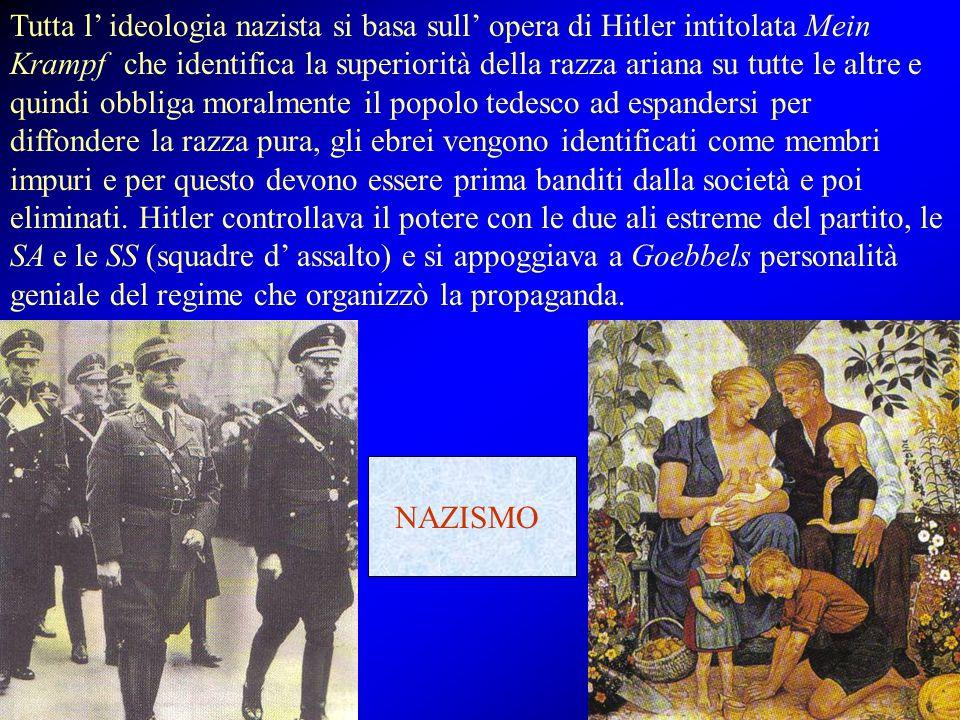 Tutta l' ideologia nazista si basa sull' opera di Hitler intitolata Mein Krampf che identifica la superiorità della razza ariana su tutte le altre e q