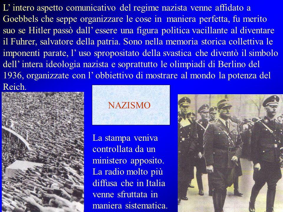 L' intero aspetto comunicativo del regime nazista venne affidato a Goebbels che seppe organizzare le cose in maniera perfetta, fu merito suo se Hitler