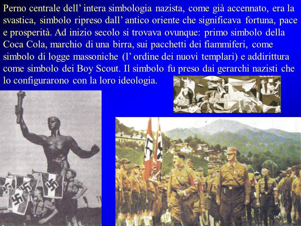 Perno centrale dell' intera simbologia nazista, come già accennato, era la svastica, simbolo ripreso dall' antico oriente che significava fortuna, pac