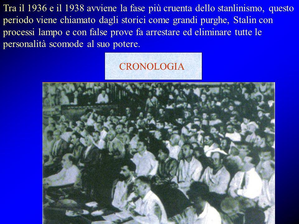 Tra il 1936 e il 1938 avviene la fase più cruenta dello stanlinismo, questo periodo viene chiamato dagli storici come grandi purghe, Stalin con proces