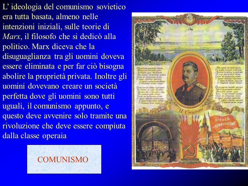 L' ideologia del comunismo sovietico era tutta basata, almeno nelle intenzioni iniziali, sulle teorie di Marx, il filosofo che si dedicò alla politico