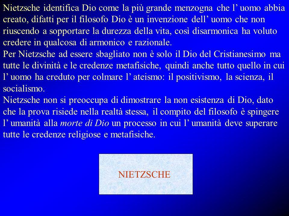 Nietzsche identifica Dio come la più grande menzogna che l' uomo abbia creato, difatti per il filosofo Dio è un invenzione dell' uomo che non riuscend