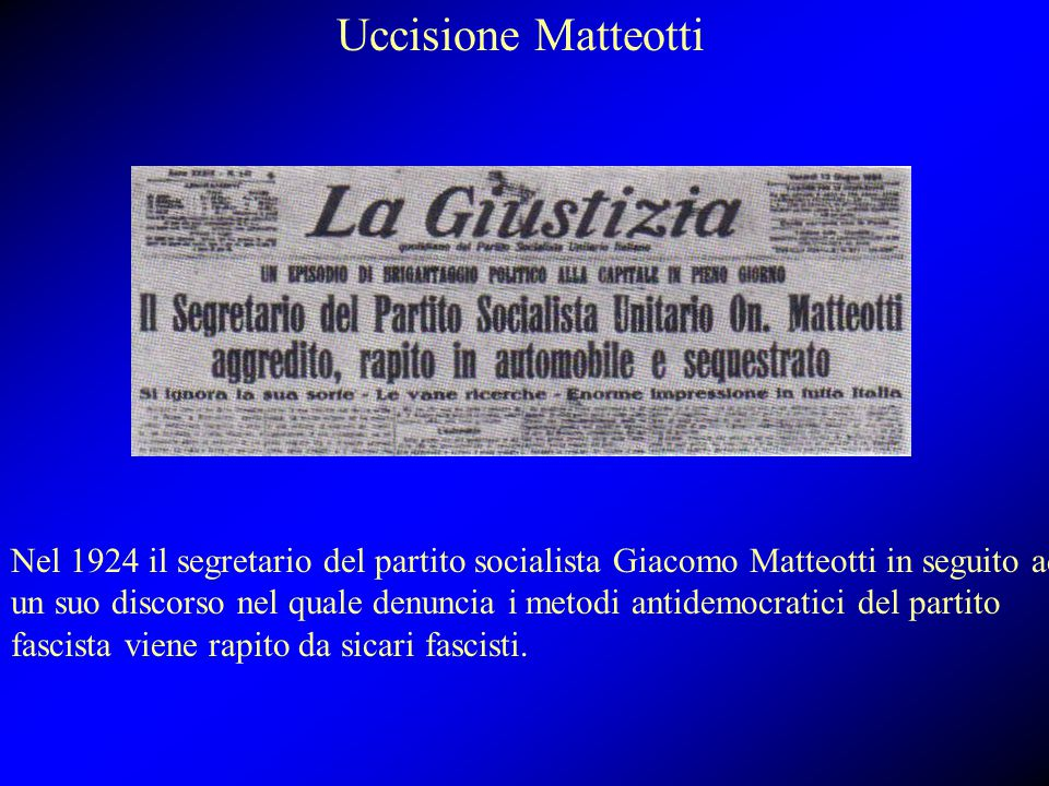Uccisione Matteotti Nel 1924 il segretario del partito socialista Giacomo Matteotti in seguito ad un suo discorso nel quale denuncia i metodi antidemo