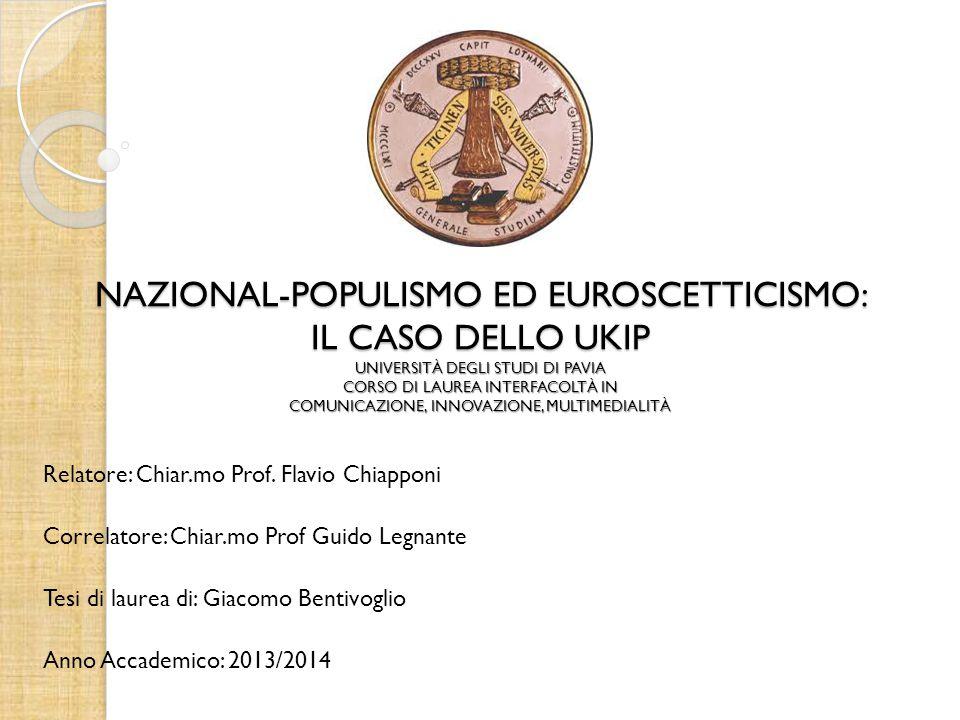 NAZIONAL-POPULISMO ED EUROSCETTICISMO: IL CASO DELLO UKIP UNIVERSITÀ DEGLI STUDI DI PAVIA CORSO DI LAUREA INTERFACOLTÀ IN COMUNICAZIONE, INNOVAZIONE, MULTIMEDIALITÀ Relatore: Chiar.mo Prof.