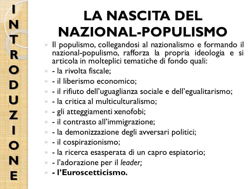 LA NASCITA DEL NAZIONAL-POPULISMO Il populismo, collegandosi al nazionalismo e formando il nazional-populismo, rafforza la propria ideologia e si articola in molteplici tematiche di fondo quali: - la rivolta fiscale; - il liberismo economico; - il rifiuto dell'uguaglianza sociale e dell'egualitarismo; - la critica al multiculturalismo; - gli atteggiamenti xenofobi; - il contrasto all'immigrazione; - la demonizzazione degli avversari politici; - il cospirazionismo; - la ricerca esasperata di un capro espiatorio; - l'adorazione per il leader; - l'Euroscetticismo.