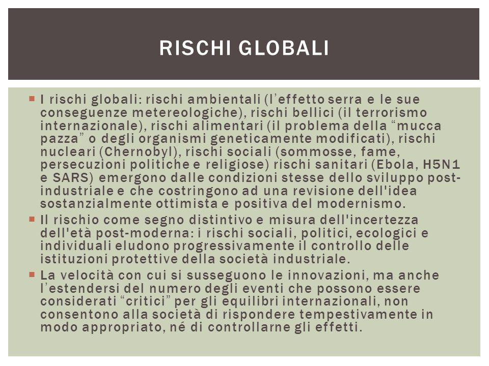  I rischi globali: rischi ambientali (l'effetto serra e le sue conseguenze metereologiche), rischi bellici (il terrorismo internazionale), rischi ali