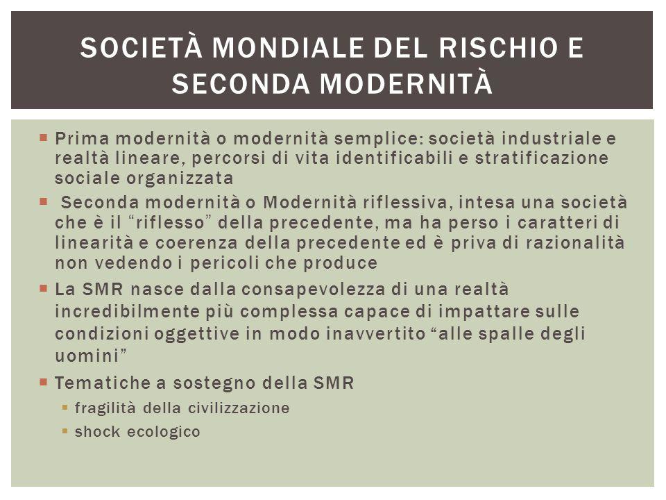  Prima modernità o modernità semplice: società industriale e realtà lineare, percorsi di vita identificabili e stratificazione sociale organizzata 
