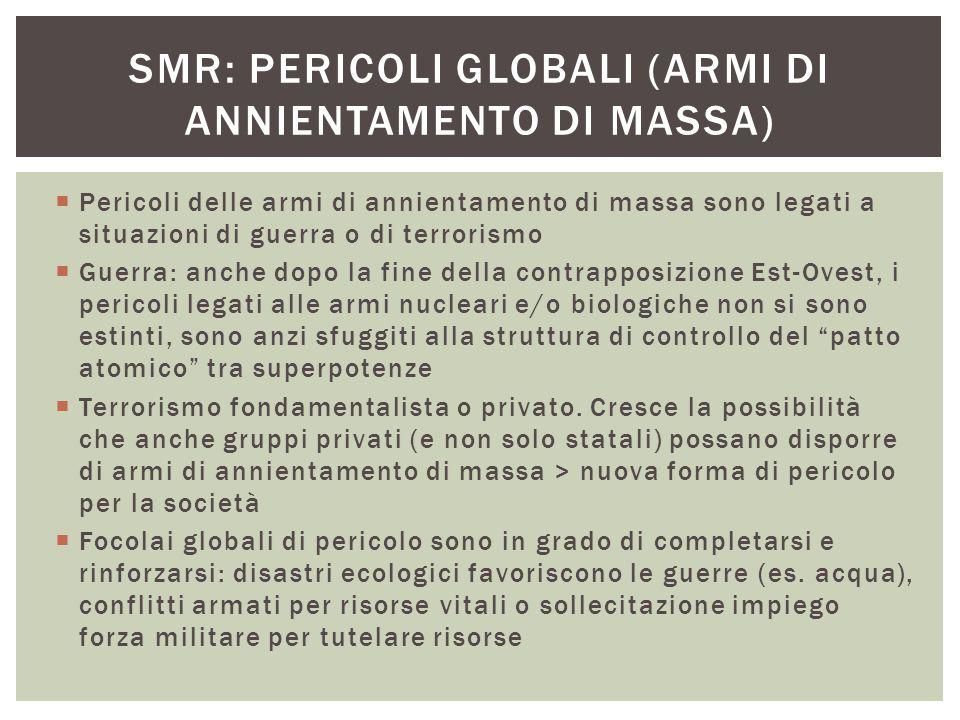  Pericoli delle armi di annientamento di massa sono legati a situazioni di guerra o di terrorismo  Guerra: anche dopo la fine della contrapposizione
