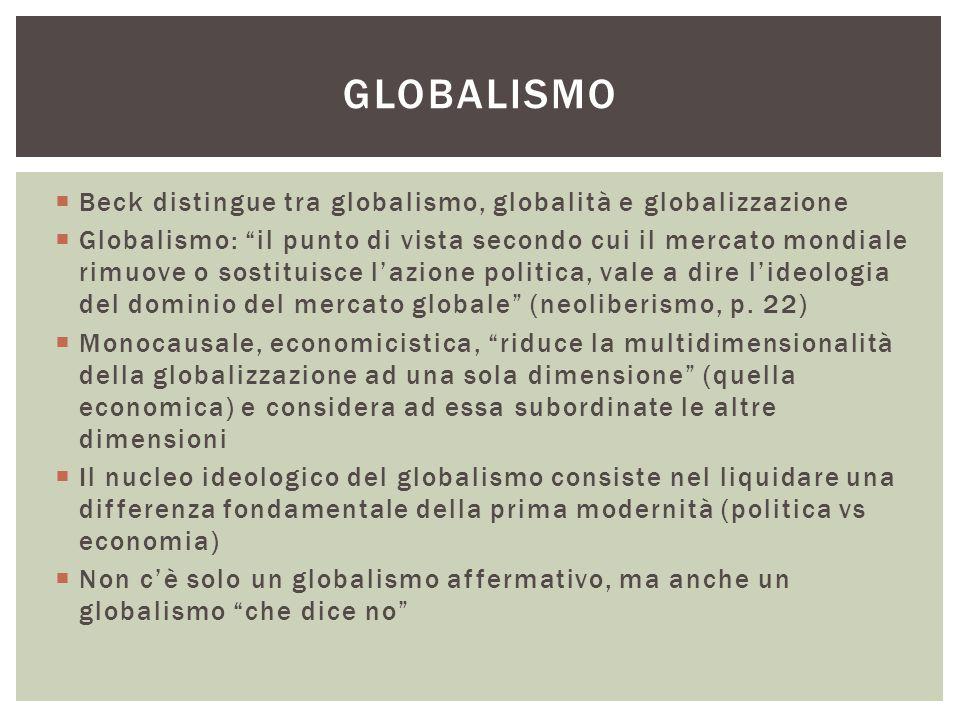 """ Beck distingue tra globalismo, globalità e globalizzazione  Globalismo: """"il punto di vista secondo cui il mercato mondiale rimuove o sostituisce l'"""