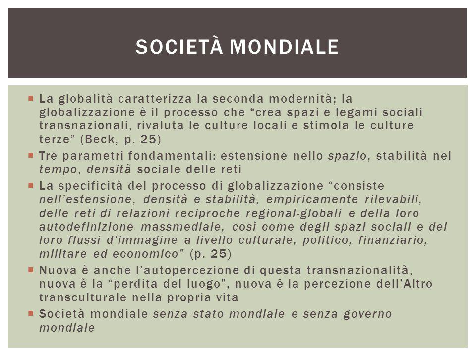 """ La globalità caratterizza la seconda modernità; la globalizzazione è il processo che """"crea spazi e legami sociali transnazionali, rivaluta le cultur"""